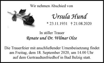 Anzeige Ursula Hund
