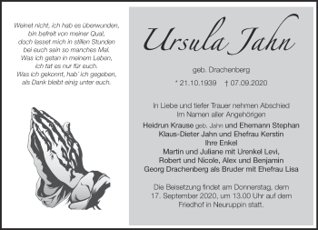 Anzeige Ursula Jahn