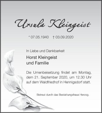 Anzeige Ursula Kleingeist
