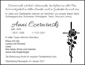 Anzeige Anni Czerwinski
