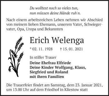 Anzeige Erich Welenga