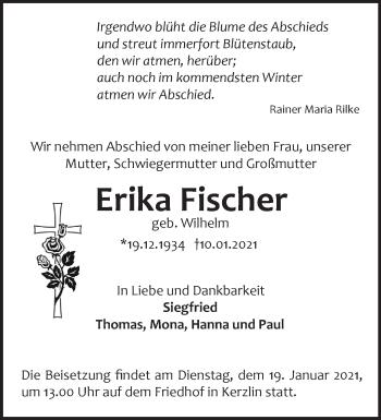 Anzeige Erika Fischer