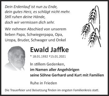 Anzeige Ewald Jaffke