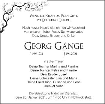 Anzeige Georg Gänge