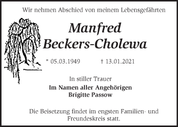 Anzeige Manfred Beckers-Cholewa