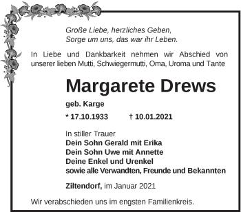 Anzeige Margarete Drews