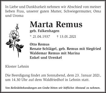 Anzeige Marta Remus