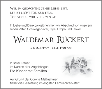 Anzeige Waldemar Rückert