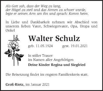 Anzeige Walter Schulz