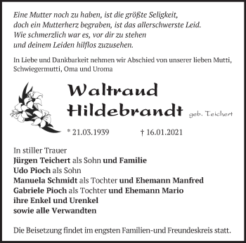 Anzeige Waltraud Hildebrandt