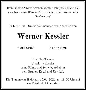 Anzeige Werner Kessler