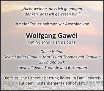 Anzeige Wolfgang Gawél