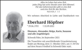 Anzeige Eberhard Höpfner