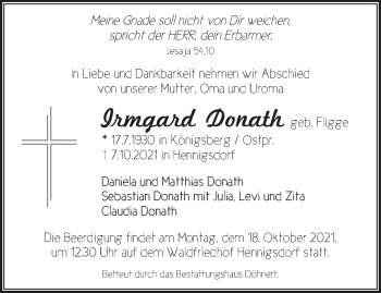 Anzeige Irmgard Donath