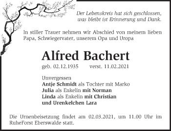 Anzeige Alfred Bachert