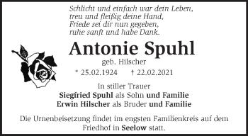 Anzeige Antonie Spuhl
