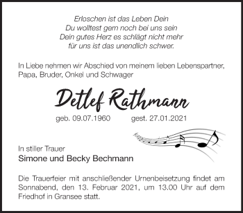 Anzeige Detlef Rathmann