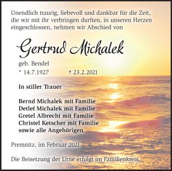Anzeige Gertrud Michalek