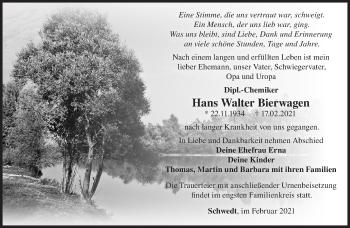 Anzeige Hans Walter Bierwagen