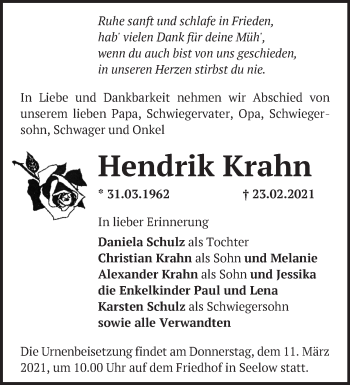 Anzeige Hendrik Krahn