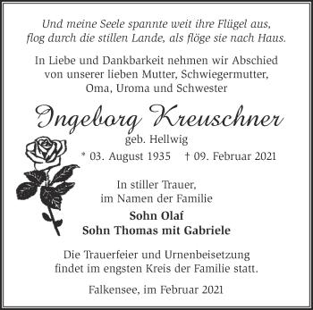 Anzeige Ingeborg Kreuschner