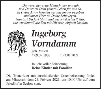 Anzeige Ingeborg Vorndamm