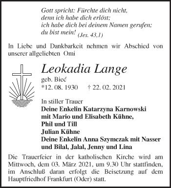 Anzeige Leokadia Lange