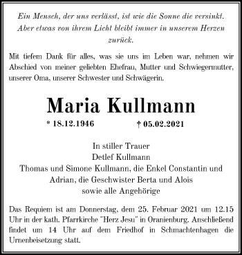 Anzeige Maria Kullmann