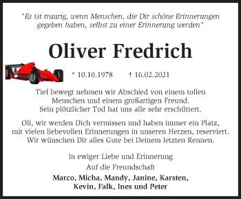 Anzeige Oliver Fredrich