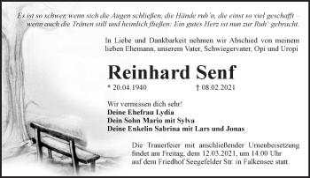 Anzeige Reinhard Senf
