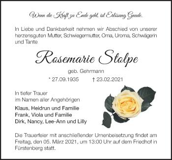 Anzeige Rosemarie Stolpe