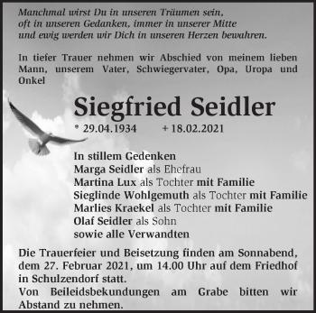 Anzeige Siegfried Seidler