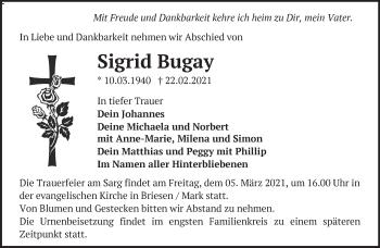 Anzeige Sigrid Bugay