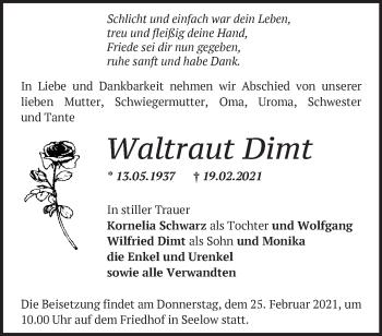 Anzeige Waltraut Dimt