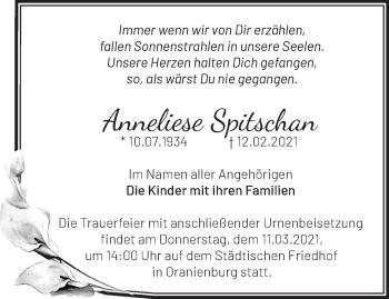 Anzeige Anneliese Spitschan