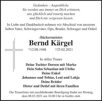 Anzeige Bernd Kärgel