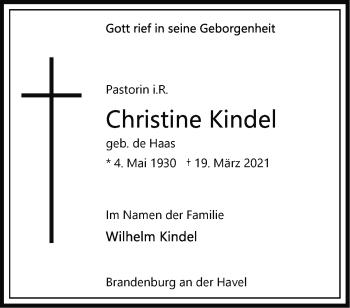 Anzeige Christine Kindel