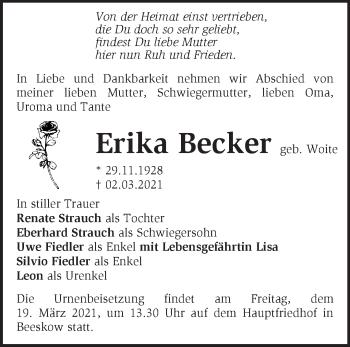Anzeige Erika Becker
