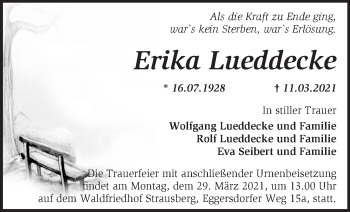Anzeige Erika Lueddecke