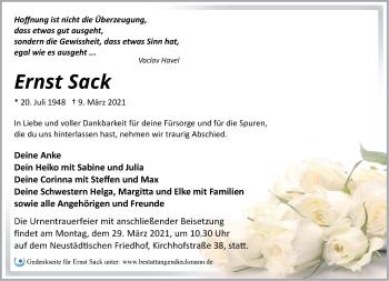 Anzeige Ernst Sack