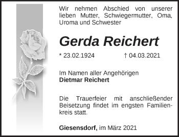 Anzeige Gerda Reichert