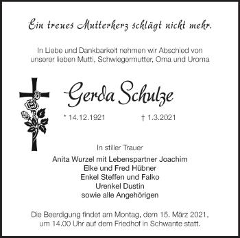 Anzeige Gerda Schulze