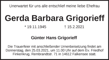 Anzeige Gerda Barbara Grigorieff