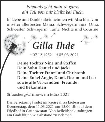 Anzeige Gilla Ihde