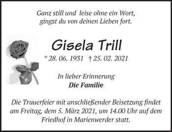 Anzeige Gisela Trill