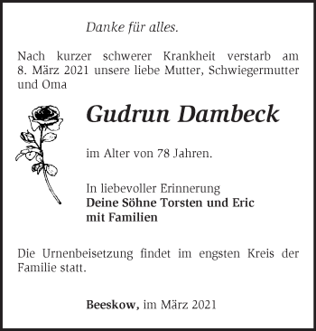 Anzeige Gudrun Dambeck