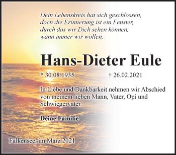 Anzeige Hans-Dieter Eule