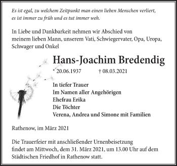 Anzeige Hans-Joachim Bredendig