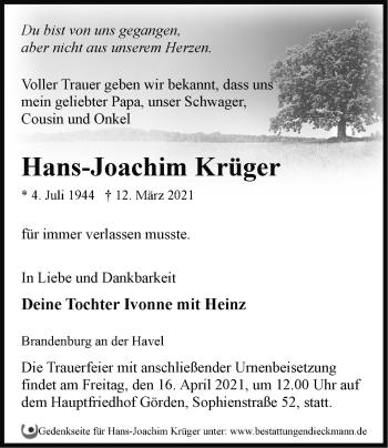 Anzeige Hans-Joachim Krüger