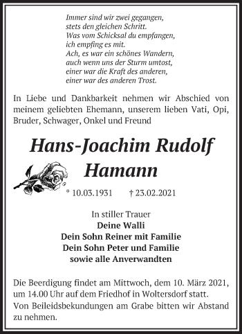 Anzeige Hans-Joachim Rudolf Hamann